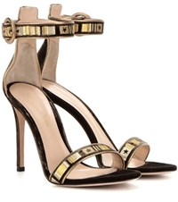 Gianvito Rossi Embroidered Velvet Sandals Green