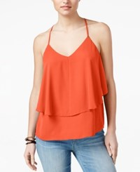 Guess Brit Ruffle Tank Top Coral Punch