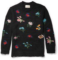 Gucci Intarsia Wool Blend Sweater Black