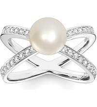 Thomas Sabo Glam And Soul Flower Bud Sterling Silver Pave Zirconia And Pearl Ring