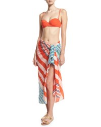 Diane Von Furstenberg Aiken Soft Voile Pareo Coverup Green Orange Blue Pink Multi Pattern