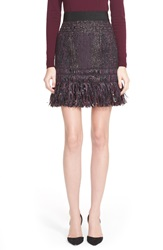 Milly Fringe Tweed Miniskirt Burgandy