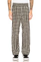 Off White Pajama Pant In Black Checkered And Plaid Black Checkered And Plaid White