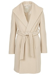 Betty Barclay Belted Wrap Front Coat Natural Melange