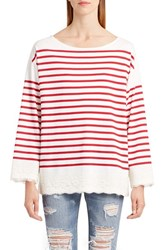 Dolce And Gabbana Women's Lace Stripe Tee