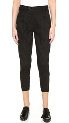 Pure Dkny Cropped Pants With Front Seam Detail Black
