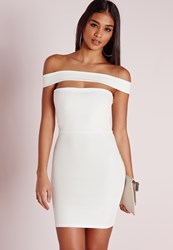 Missguided Cut Out Panel Bardot Bodycon Dress White White
