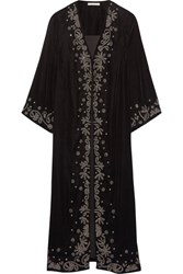 Alice Olivia Stara Embroidered Velvet Coat Black