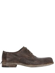 Shoto Laser Cut Washed Leather Derby Shoes Brown