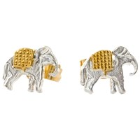 Alex Monroe 22Ct Gold Plated Sterling Silver Elephant Stud Earrings Silver Gold