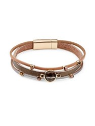Design Lab Lord And Taylor Faceted Stone Layered Bracelet Brown