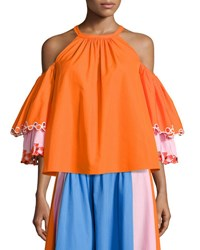 Peter Pilotto Embroidered Cold Shoulder Trapeze Blouse Orange