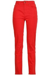 Rockins High Rise Straight Leg Jeans Red