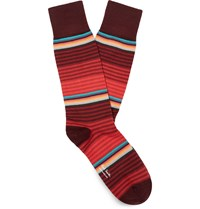 Paul Smith Striped Stretch Cotton Blend Socks Red
