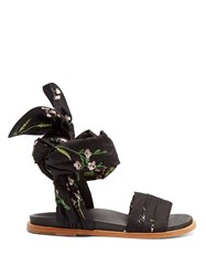 Marques Almeida Floral Embroidered Wrap Sandals Black Multi