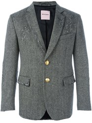 Palm Angels Distressed Herringbone Blazer Grey