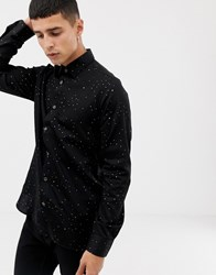 Ted Baker Party Shirt In Black With Metallic Star Print