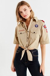 Urban Renewal Recycled Tie Front Scout Shirt Tan