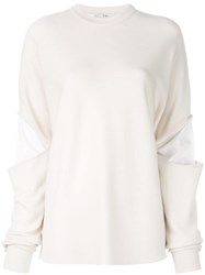 Tibi Double Layer Slit Sleeve Sweater White