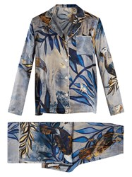Morpho Luna Ines Reunion Print Silk Satin Pyjama Set Blue Multi