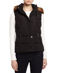 Marc New York Marc Ny Performance Puffer Vest W Removable Faux Fur Trim Hood Black