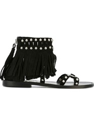 Ash 'Mary J' Fringe Sandals Black