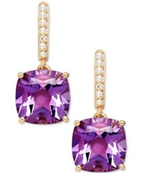 Macy's Amethyst 3 9 10 Ct. T.W. And Diamond Accent Drop Earrings In 14K Yellow Gold