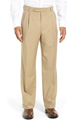 Ballin Men's Big And Tall Pleated Solid Wool Trousers Khaki