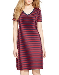 Lauren Ralph Lauren Striped Cotton Nightgown Navy Red Stripe