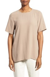 Eileen Fisher Women's Silk Crepe Round Neck Boxy Top Mocha
