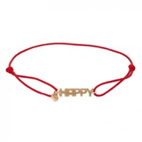 Kismet By Milka 14Ct Rose Gold And Red Cord Happy Bracelet