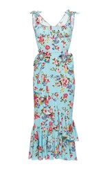 Dolce And Gabbana Stretch Floral Dress With Brooches Print