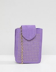 Pieces Studded Camera Bag With Cross Body Chain Purple