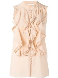 Chloe Frill Layered Blouse Nude Neutrals