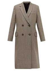 Fendi Double Breasted Bow Back Houndstooth Wool Coat Grey Multi
