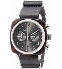 Briston 15140.Sa.T.11.Ng Clubmaster Cassic Acetate And Canvas Chronograph Watch Tortoise