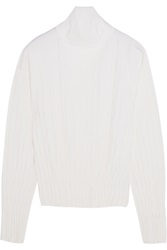 Pringle Pleated Wool Blend Turtleneck Sweater White
