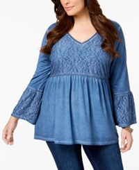 Style And Co Plus Size Patterned Babydoll Tunic Created For Macy's Industrial Blue