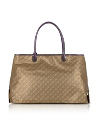 Gherardini Handbags Hazelnut Signature Fabric Softy Tote W Patent Leather Double Handles