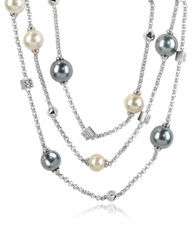 A Z Collection Glass Pearl Triple Chain Necklace Silver