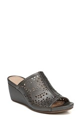 Naturalizer Women's Cutout Wedge Sandal Charcoal Leather