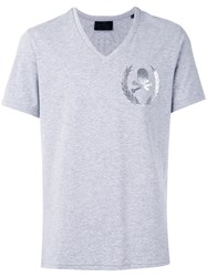 Philipp Plein Skull Print V Neck T Shirt Men Cotton M Grey