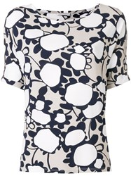 Le Tricot Perugia Floral Short Sleeve Top Nude And Neutrals