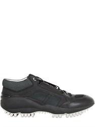 Lanvin Shark Leather And Mesh Sneakers
