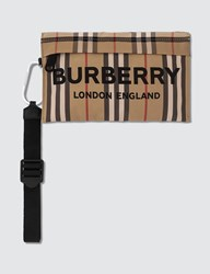 Burberry Nylon Check Zip Pouch Beige