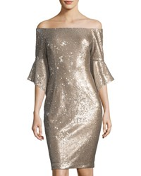 Tahari By Arthur S. Levine Sequined Off The Shoulder Dress Champagne