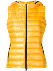 Herno Zipped Hooded Gilet Yellow Orange