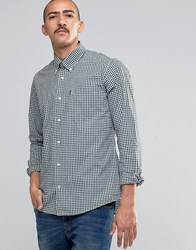 Barbour Shirt In Gingham Check In Tailored Slim Fit In Green Forest