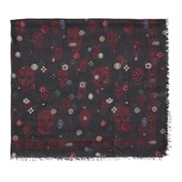 Alexander Mcqueen Black And Red Jewel Skull Scarf