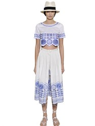Temperley London Embroidered Cotton Poplin Crop Top